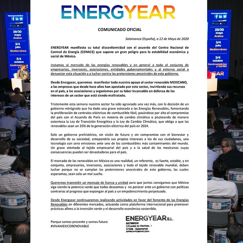 ENERGYEAR manifiesta su total disconformidad con el acuerdo del CENACE